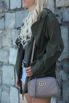 Olive spring jacket, stripe bodysuit and Gucci bag - spring fashion