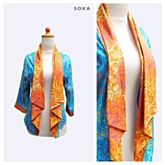 $22 Bolero jacket batik, blue color with orange collar #fashion #batik
