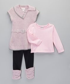 Look at this Light Pink Belted Three-Piece Sweater Set - Toddler