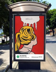 A rendering of Roy Lichtenstein's Cold Shoulder (1963) at a bus stop. Photo © Estate of Roy Lichtenstein and courtesy of the Los Angeles County Museum of Art