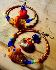 These African beaded hoop earrings with rainbow tribal glass beads are beautiful!