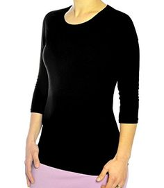 Kosher Casual Womens Modest Cotton Spandex 34 Sleeve Crew Neck Layering Top Small Black >>> Learn more by visiting the image link.Note:It is affiliate link to Amazon.