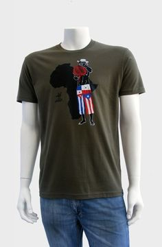 Afro Latino (Military Green)  The Afro Latino Tee depicts an Afro Latino wearing pants with the flags of Cuba, Panamá and Puerto Rico playing the shekere and accented with the continent of Africa. Screen printed with 5 colors onto 100% combed cotton jersey premium fitted crew with custom tag on the hem. WRAP certified (worldw...