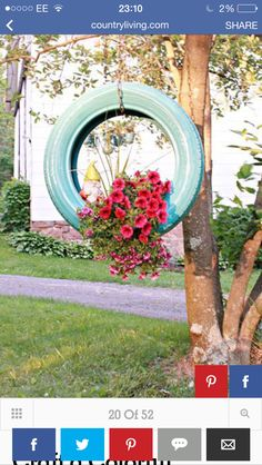 Old tires dont have to go to the trash when they're no longer useful for transportation. See the creative ideas how to repurpose old tires and get inspired. Tire Planters, Flower Planters, Hanging Planters, Diy Garden, Garden Projects, Diy Projects, Garden Beds, Diy Yard Games, Reuse Old Tires