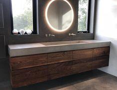 New Modern Guest Bathroom Ideas Trough Sink 46 Ideas Concrete Sink Bathroom, Trough Sink Bathroom, Bathroom Faucets, Small Bathroom, Master Bathrooms, Luxury Bathrooms, Sinks, Modern Bathroom Sink, White Bathrooms