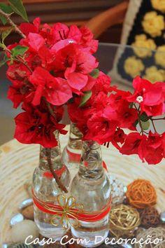 Decore a casa com vidro enfeitado e flores! Charme na casa sem gastar!!