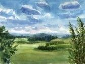 Summer landscape. Really watercolor illustration.