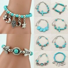 Adjustable Womens Tibetan Silver Turquoise Beaded Bracelet Bangle Charm Jewelry