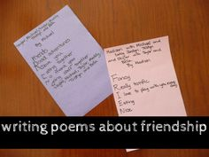 Friendship poems written by kids