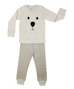 Look at this Gray Teddy Bear Face Pajama Set - Infant, Toddler & Boys on #zulily today!