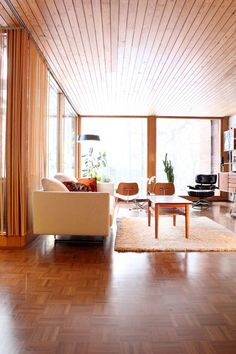 I'm thinking wood ceiling for the basement. Mid Century modern in Finland | Plastolux