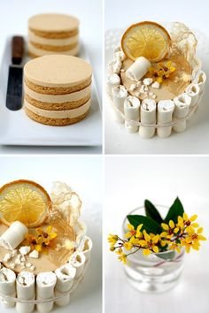 Caramel Cake - so how does something so beautiful have such a simple sounding name?  This looks amazing!  And those meringue tubes??  Wow!  They are cool!