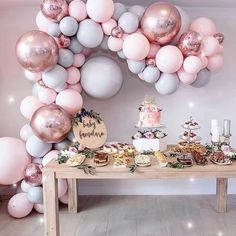 Eanjia Balloon Arch & Garland Kit Double-Stuffed Pink Gray Rose Gold Confetti Balloons Bulk for Wedding Baby Shower Birthday Party Shop Decoration Deco Baby Shower, Gold Baby Showers, Girl Shower, Shower Party, Baby Shower Parties, Baby Shower Themes, Baby Shower Balloons, Baby Shower Pink, Shower Set