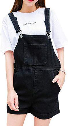 cd0ad81479d Women s Plus Size Loose Denim Distressed Front Bib Short Overalls Dark Blue  Jumpsuits Suspenders