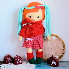 Cukierkowa lalka Gloria 43 cm - wersja zimowa #clothdoll, #doll #handmade #stuffed #toy @pracownia.malykoziolek Stuffed Toy, Dolls, Handmade, Baby Dolls, Hand Made, Puppet, Doll, Baby, Plushies