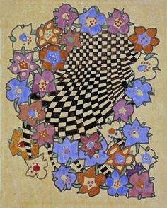 CHARLES RENNIE MACKINTOSH - FLORAL AND CHEQUERED FABRIC with a touch of Zentangle
