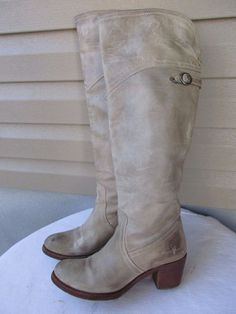 FRYE 77594 Jane Tall Cuff Leather Riding Motorcycle Boots Women's Size 9 B #Frye #Motorcycle #Casual