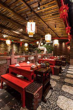 Asian Interior Design, Bar Interior, Asian Design, Japanese Design, Outdoor Restaurant Design, Restaurant Themes, Restaurant Interior Design, China, Japanese Style House