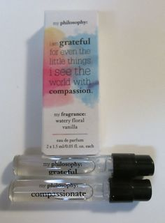 My PHILOSOPHY Watery Floral Vanilla GRATEFUL COMPASSION Sample Vials EDP #Philosophy