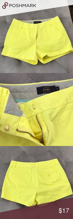 "J.Crew chino bright yellow Bright yellow colored J.Crew 3"" chino. Zip front hook. Like new Barely worn. Size 6. J. Crew Shorts"