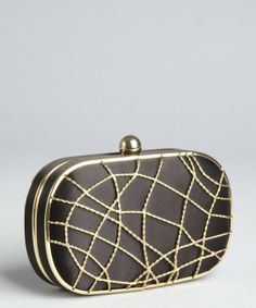 Wyatt : black satin caged minaudiere clutch : style # 322694801