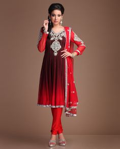 Brown and red Net anarkali kurta with red Net sleeves carrying heavy embroidery with stones and beads on the front and back and embroidered bootis on sleeves further accentuated with silver lace all around the hem. It comes with a heavy red Net dupatta Heavy Red, Bollywood Fashion, Bollywood Style, Indian Fashion, Womens Fashion, Big Fat Indian Wedding, Designer Anarkali, Indian Sarees, Pakistani
