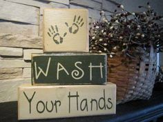 Cute Bathroom Sign but use kids actual hands