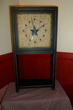 Primitive Decor Wood Framed Clock with Shelf Crackled Stars | eBay