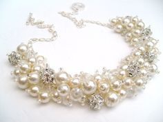 Pearl and Rhinestone Beaded Necklace, Bridal Jewelry, Cluster Necklace, Chunky Necklace, Bridesmaid Gift - Pearl and Crystals by Kim Smith. $28.00, via Etsy.