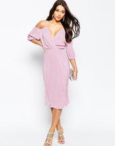 Image 1 ofASOS Cold Shoulder Plisse Pleated Midi Dress