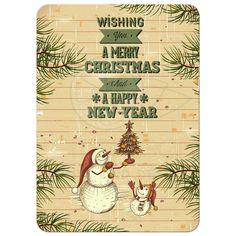 Rustic Snowmen Photo Template Holiday Greeting Card - photo on back