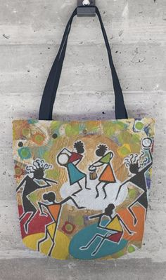 """""""JOYFUL DANCE"""" Tote ~  $55  Artist: Sharon Gilbertson ~  For clothing collection - follow link on website to Sharon's VIDA VOICES shop.  Thank you."""