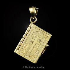 "14k Yellow Gold Bible Charm ""The Lords Prayer"""