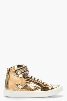 PIERRE HARDY Metallic Gold Leather Disco High-Top Sneakers