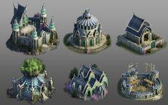 Fantasy Concept Art, Weapon Concept Art, Fantasy Art, Fantasy World Map, Fantasy Places, 3d Model Architecture, Concept Architecture, Elf City, Buildings Artwork