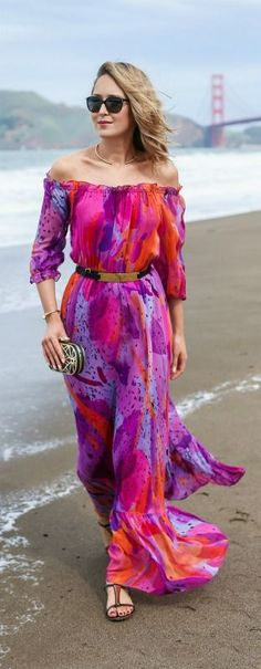 What to wear to a beach wedding {multicolored off the should maxi dress, flat sandals, black and gold clutch, gold collar necklace, sunglasses}