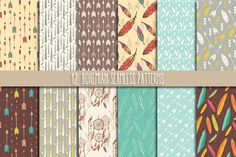 12 Bohemian Seamless Patterns by Blue Lela Illustrations on @creativemarket