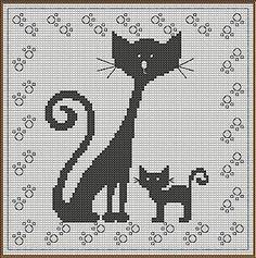 Cat cross stitch pattern - use for filet crochet Beaded Cross Stitch, Cross Stitch Charts, Cross Stitch Embroidery, Embroidery Patterns, Cross Stitch Patterns, Chat Crochet, Crochet Cross, Crochet Chart, Filet Crochet