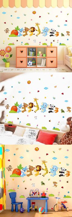 [Visit to Buy] Brand 2017 Cartoon Animal Panda Monkey Lion Wall Stickers for Kids Rooms Baby Room Decor Animals Wall Sticker Decals Mural Art #Advertisement