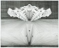 This drawing is another perspective experiment depicting a vast artificial structure in space over which a spacecraft is hovering. The plane is situated so that we can see the lower edge receding into darkness below. The plane has a channel with three small portals of unknown purpose. However, the fact that the craft is situated directly above implies a significance to this detail.   #scifi #scifiart #steampunk #symmetrical #buddhistart