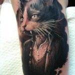 Black Cat Tattoo Half Sleeve Design