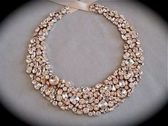 jewellery for the bride and her bridesmaids - Chunky Swarovski Statement Necklace wedding by TheCrystalRose Jewelry Sets, Gold Jewelry, Jewelry Accessories, Jewelry Necklaces, Diamond Jewelry, Jewelry Design, Fashion Accessories, Jewellery, Bullet Jewelry