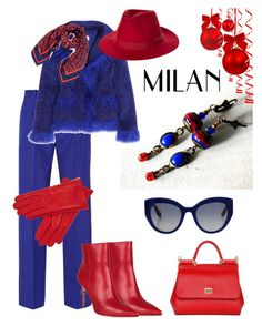 """""""Winter in Milan"""" by mariannemerceria ❤ liked on Polyvore featuring Jonathan Saunders, Saks Potts, Dsquared2, Dolce&Gabbana, Gizelle Renee, Brixton, Karen Walker, red, Blue and fashionset"""