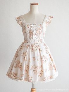 LIZ LISA Floral Lace-up Large Bowknot Jumper OP Dress JSK Party Lolita Japan #LIZLISA #JumperdressPeplum #Party