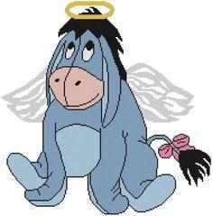 Cross Stitch PATTERN COLOR Winnie Pooh Donkey Eeyore Angel Wings Halo