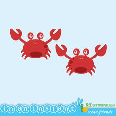 Crab Vinyl Wall Decals for an Under the Sea or by InAnInstantArt