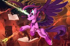 I really like this image because Ponified Midnight Sparkle But not only that she's levitating multiple open books around her, and there are magic circles in the air above her, implying she's using magical tomes to become super powerful and do super advanced magic and I don't know why but I love thay