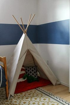 Make a drop cloth teepee for Taycen's room