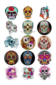 Day of The Dead sugar skull bottle cap images