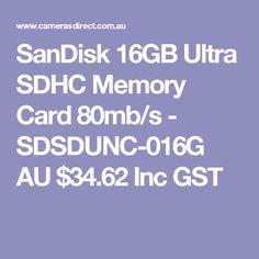 SanDisk 16GB Ultra SDHC Memory Card 80mb/s - SDSDUNC-016G  AU $34.62 Inc GST
